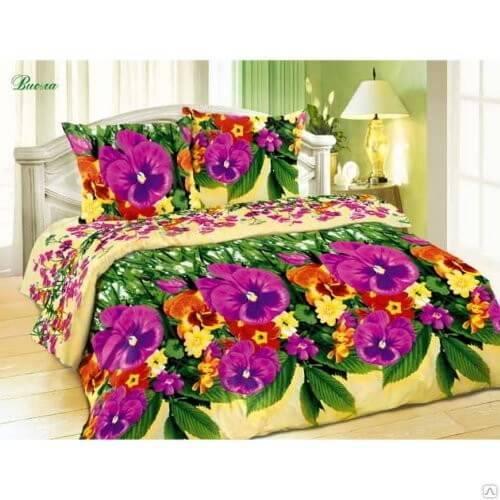 Комплект постельного белья Поплин 3D«Виола» коллекция «Жасмин» 1.5-сп