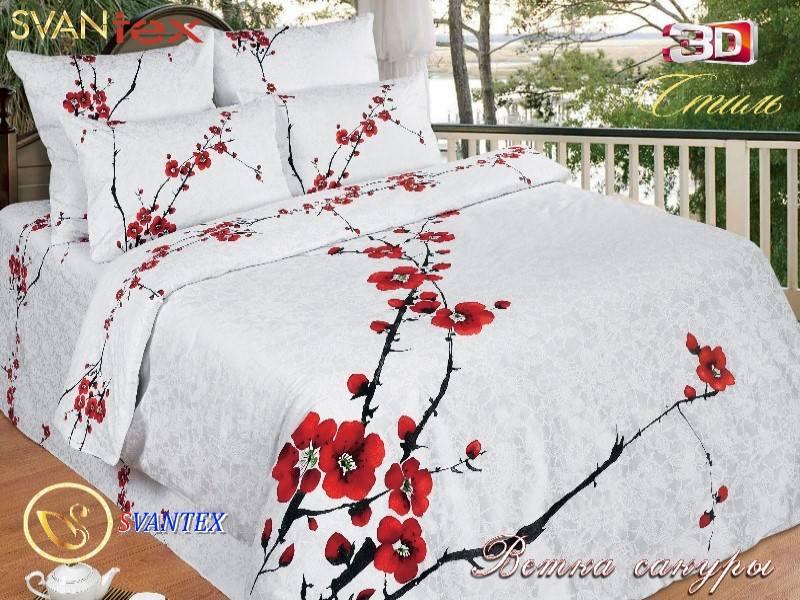 Постельное белье сатин 3DВетка сакуры