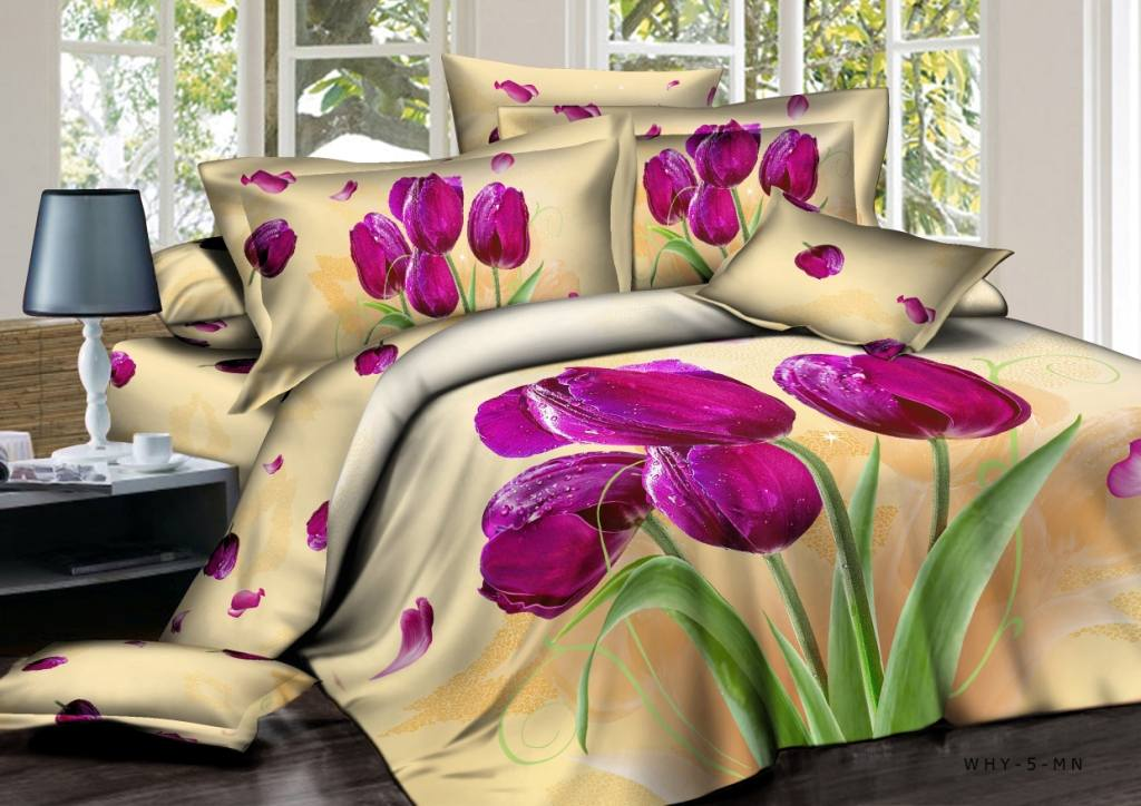 Постельное белье сатин 3DБукет тюльпанов