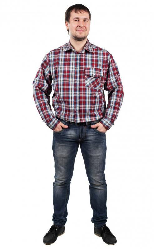 Рубашка мужская сдлинным рукавом (бязь)
