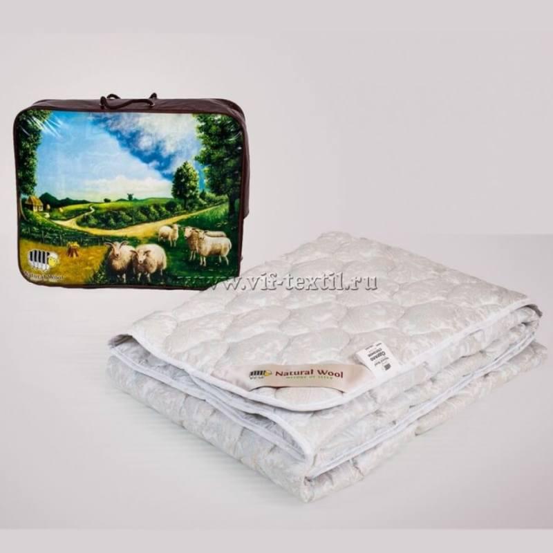 Одеяло овечья шерсть 1.5сп, глос-сатин, 300г/м2, облегченное