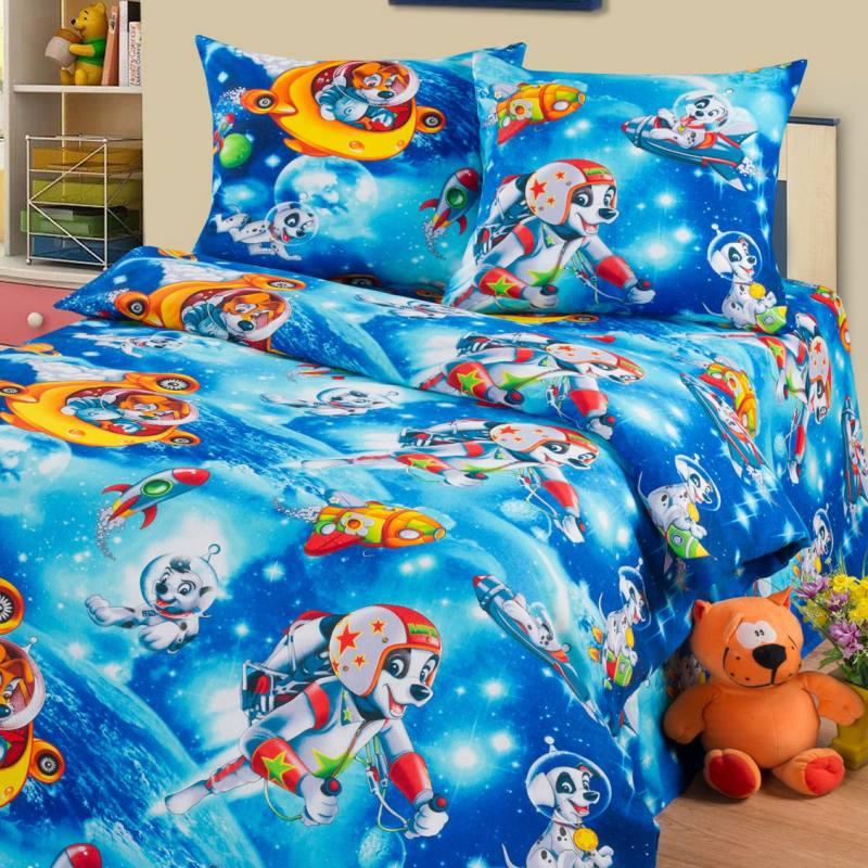 Детское постельное белье бязь Космики1.5сп