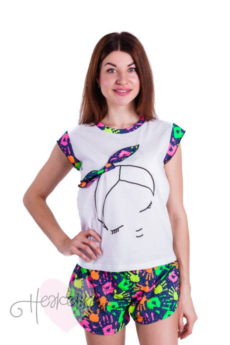 Пижама Д99 (белая + ладошки)